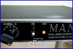 Manley Dual Mono Microphone Preamplifier 2-Channel Tube Mic Preamp Handcrafted